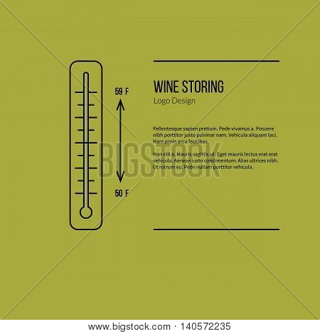 Thermometer with graphic temperature. Single logo in modern thin line style isolated on green background. Outline winery symbol. Simple mono linear pictogram. Stroke vector logotype template.