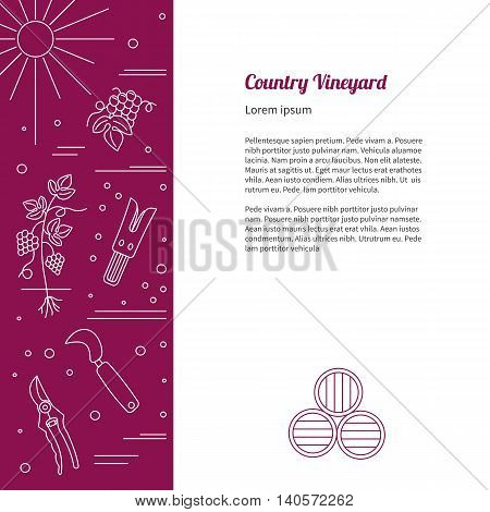 Winemaking wine tasting flyer poster with winery symbols and with place for your text.