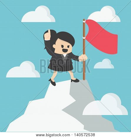 Woman flag on th to the mountain top. Reaching the goal concept vector illustration