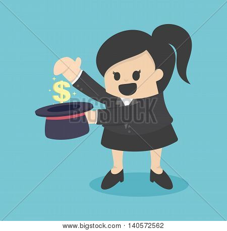 Business concept cartoon illustration money in cylinder