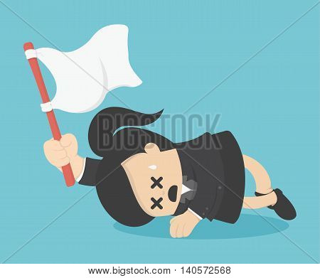 Business woman holds white flag of surrender.