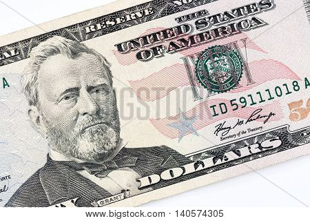 Fifty Dollars american banknote, partial front face