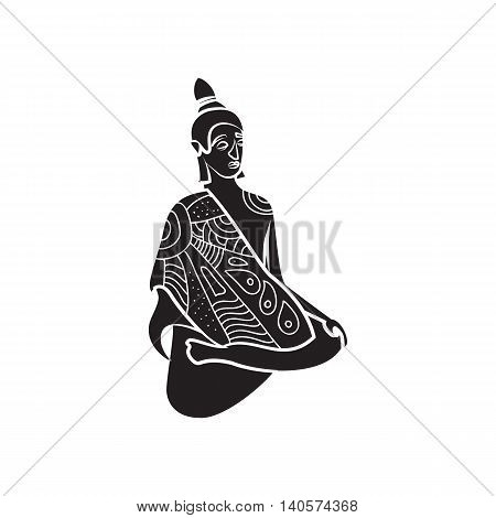 Buddha statue icon in simple style on a white background