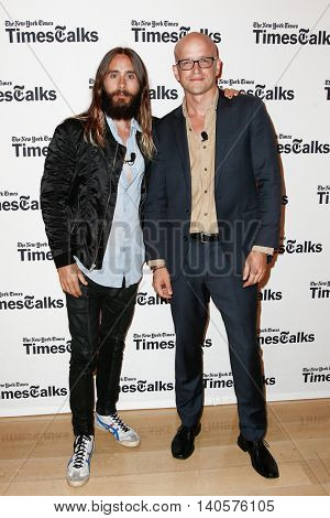 NEW YORK-AUG 14: Actor/musician Jared Leto (L) and journalist Logan Hill attend 'TimesTalks Presents An Evening With Jared Leto' at The Times Center on August 14, 2014 in New York City.