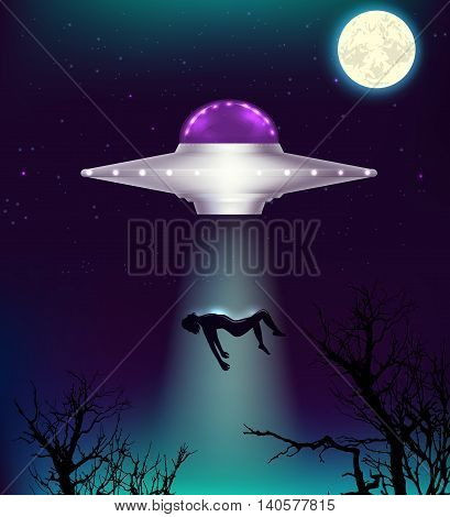 Fantastic background with UFO abducts a man. Vector illustration.