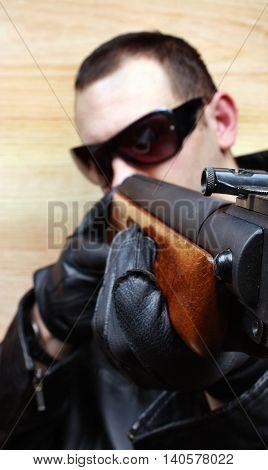 Gangster Mafia Criminal Shoots A Gun