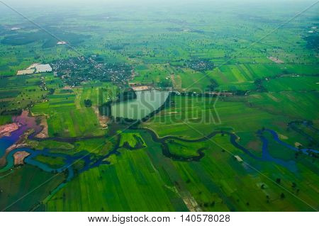 The meandering of the river basin information.THAILAND