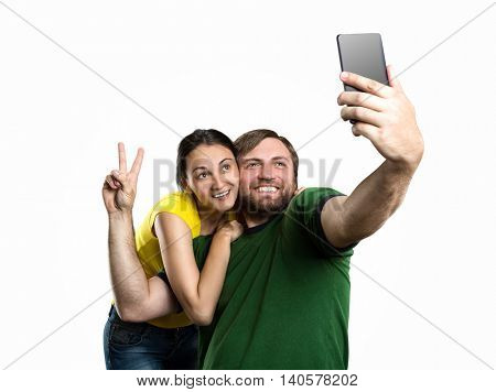 Couple making selfie in the park
