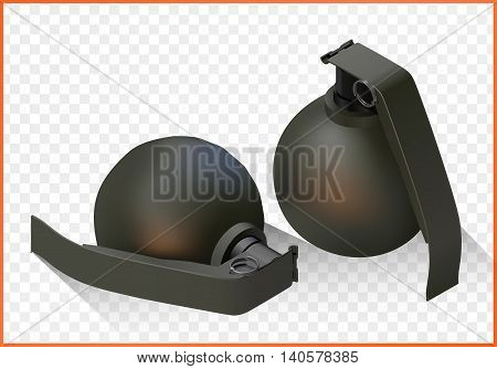 hand grenade isometric flat vector 3d illustration isolated on white background