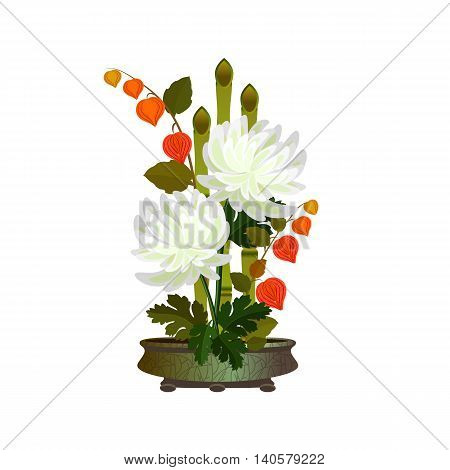 Ikebana with bamboo and chrysanthemums. Arrangement with white autumn flowers.