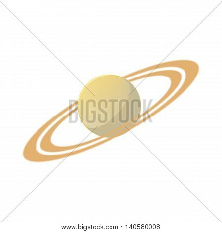 Saturn planet icon in cartoon style on a white background