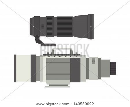 Camera photo optic lenses set on white background vector.
