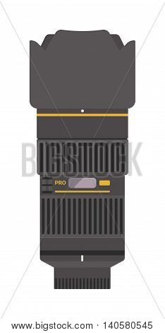 Camera photo optic lense on white background vector.