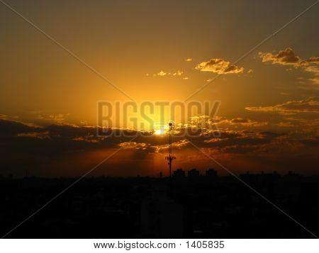 Sunset Behind The Big Antenna