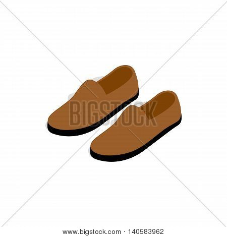 Brown leather shoe icon in isometric 3d style on a white background