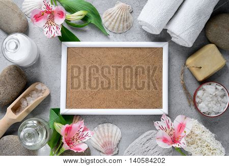 Sea spa treatment concept with a space for your text in the frame Mother's day spa coupon