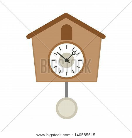 Vintage wooden cuckoo clock icon in flat style on a white background