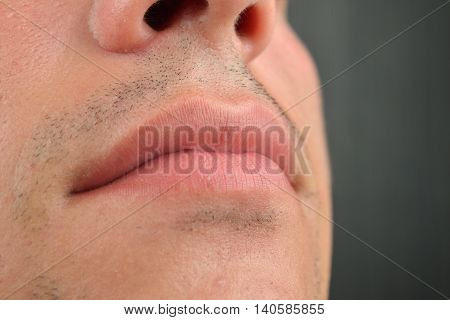 Close Up Shot Of A Part Of Man's Face, Lips, Nose, Chin, Skin Medical Care. Concept Of Male Sexualit