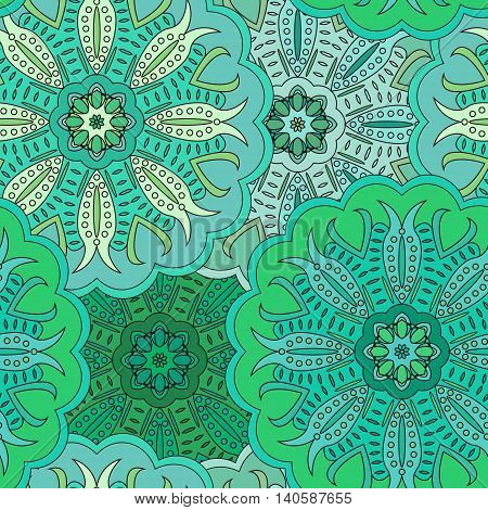Floral Oriental Seamless Pattern Made Of Many Mandalas. Background In Green Colors. Vector Illustrat