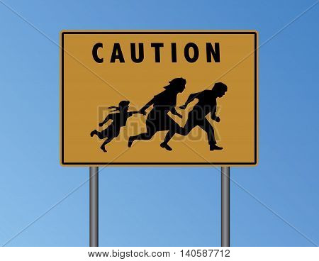 Vector Caution Mexican Border Yellow Sign Illustration