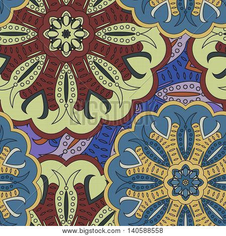 Seamless Pattern Made In Floral Oriental Style. Multicolored Background With Mandalas. Vector Illust