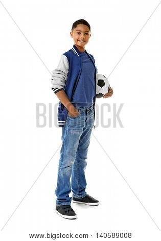 African American boy with soccer ball, isolated on white