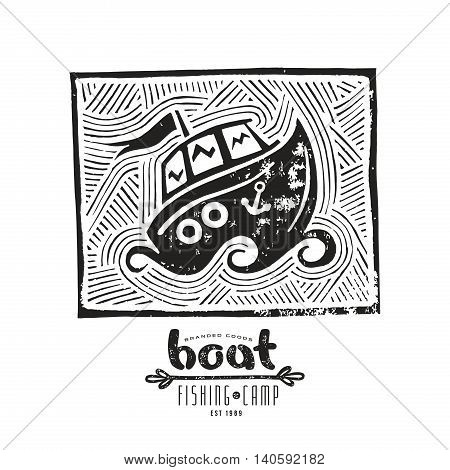 Stock vector linocut with a picture of boat. Graphic design for t-shirt. Black print on white background