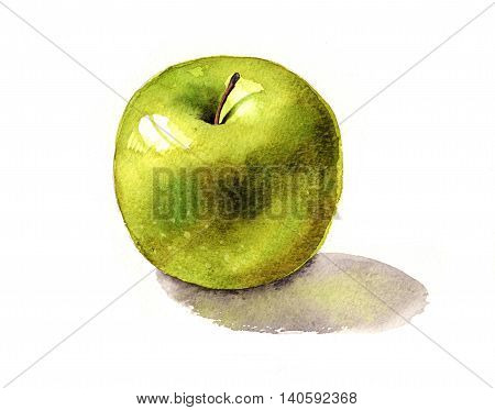 Watercolour painting of a crunchy green apple.