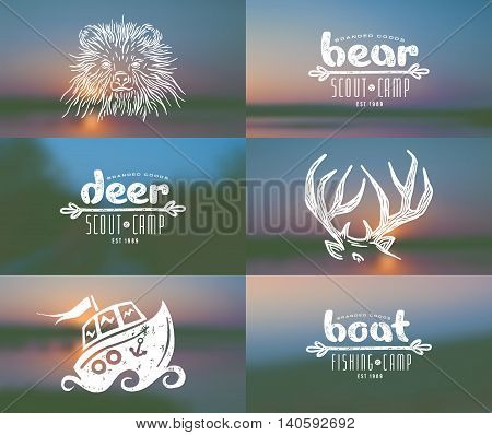 Set of elements in hand-drawn style: bear deer horn boat. Graphic design for t-shirt. And blurred backgrounds
