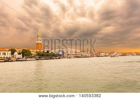 Venice landmark, view from the sea of Piazza San Marco or st Mark square, Campanile and PalazzoDucale or Doge Palace. Italy, Europe.