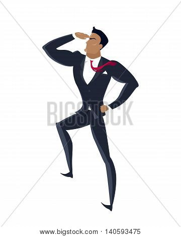 Businessman searching for promising opportunities. Successful young businessman look into the distance isolated on white background. Business winner. Conceptual business idea, banner poster in flat