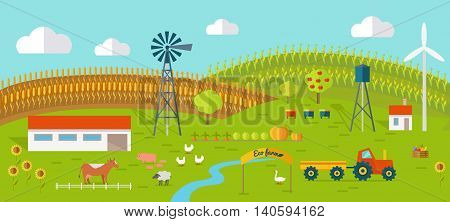 Eco farm conceptual vector. Flat design. Landscape view of traditional ecological farm. Country idyll. Farmyard with domestic animals, houses, machines, windmill, river, fields and garden. On white.