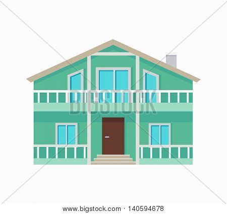 Two stored country house with terrace isolated. Exterior home icon symbol. Residential cottage in green colors. Part of series of modern buildings in flat design style. Real estate concept. Vector