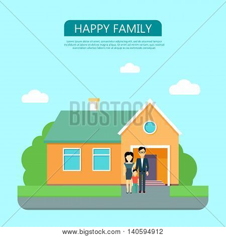 Happy family in the yard of their house. Home icon symbol sign. Colorful residential cottage with green bushes. Part of series of modern buildings in flat design style. Real estate concept. Vector