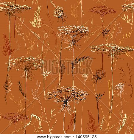 Yellow brown autumn silhouettes of meadow herbs and grass on orange background. Hand drawn herbal seamless pattern. For bio products package botany design. Botanical vector illustration stock vector.