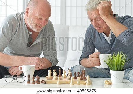 two senior men having fun and playing chess at home