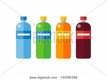 Different colored plastic bottles with labels. Bottle of mineral water. Plastic bottle icon. Retail store element. Simple drawing. Isolated vector illustration on white background.