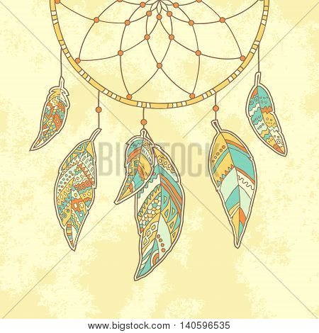 Hand drawn Dreamcatcher on textured paper background. Native Indian talisman. Vector illustration.