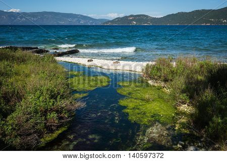 Image of lake Karavomilos at Kefalonia island in Greece