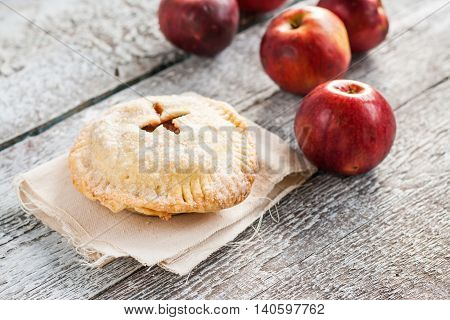American Apple Pie On Wooden Rustic Background