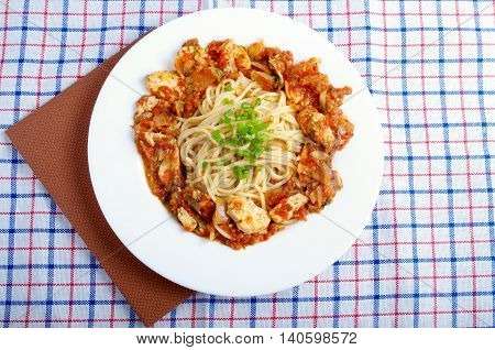 Top View On A Plate Of Spaghetti With Stewed Meat