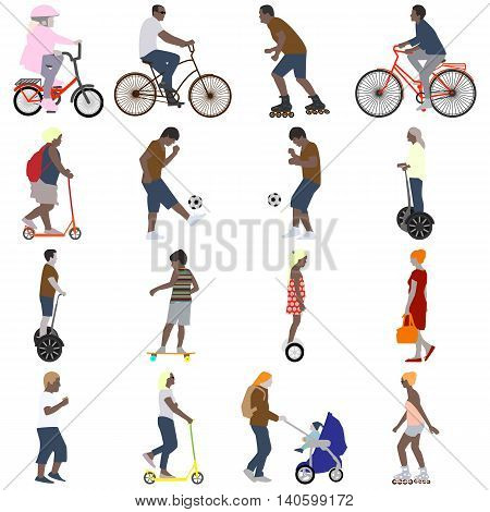 Vector illustration of a set of sixteen color pictures of people active in the summer vacationers on the street in the city flat style