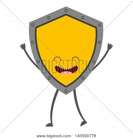 shield character cute icon vector isolated graphic