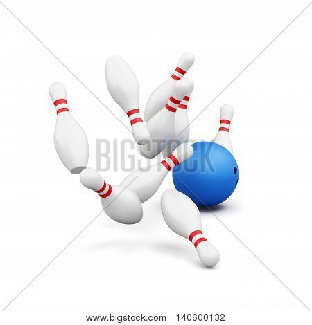 Bowling pins and ball isolated on white background. Falling skittles. 3d rendering