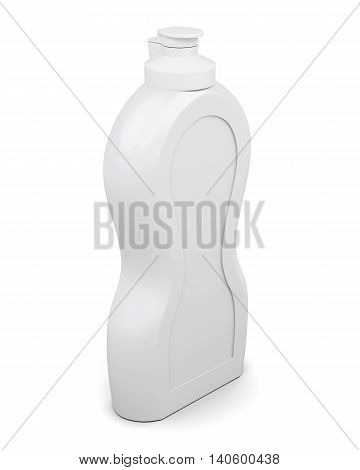 Empty packaging bottle isolated on white background. Household chemicals. Cleaning product. For your design. 3d rendering