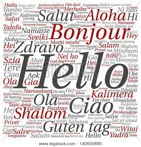 Concept or conceptual abstract square hello or greeting international word cloud in different languages or multilingual