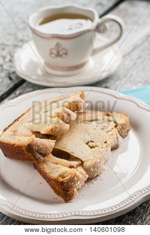 Pie Fruitcake Pear And A Slice Of A Cup Of Tea