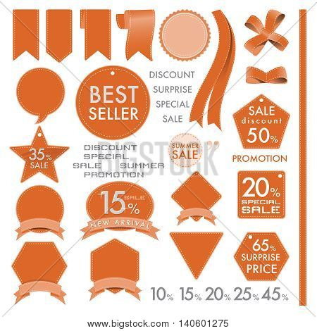 Vector element design set of leather commercial labels and ribbon templates on summer concept tone. This vector file is organized in layers to separate Graphic elements from Text and leather.