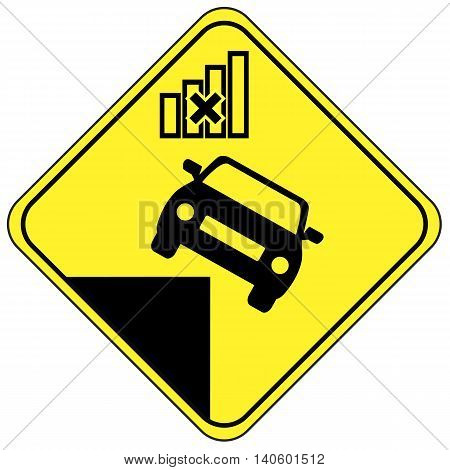 Accident with autonomous car. Concept sign of a self driving vehicle in danger due to technical defect