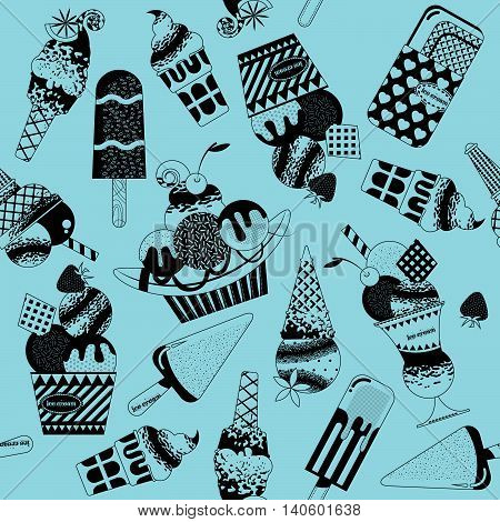Different flavors of ice cream. Black and white. Seamless background pattern. Vector illustration.